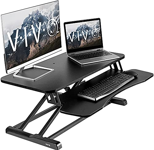 4. VIVO Black Height Adjustable 32 inch Standing Desk Converter