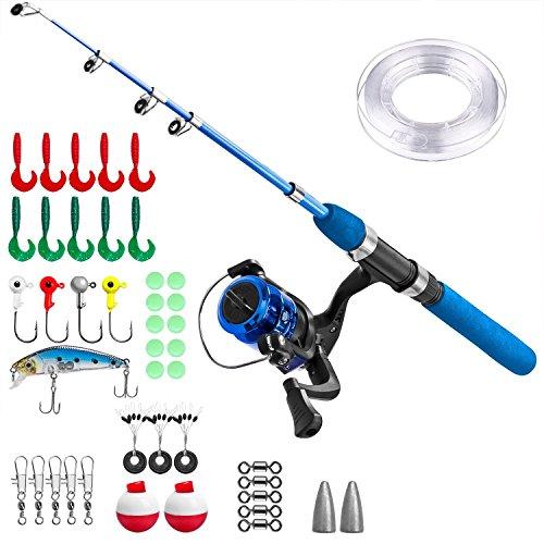 Plusinno - Set da pesca con amo per bambini, con canna, mulinello ed esche, Manico blu., 1,5 m