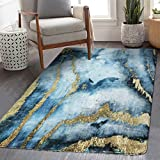HAOCOO Modern Abstract Area Rugs 3'x5' Large Non-Slip Blue&Gold Marble Throw Rugs Super Soft Velvet Distressed Accent Floor Carpet for Bedroom Living Room Nursery Christmas Decor