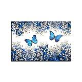 N/ Pintura Decorativa en Lienzo Cuadro sobre Lienzo para Pared, pster con Estampado de Mariposas Azules y Gypsophila Paniculata Blanca, imgenes para decoracin del hogar