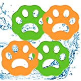 Pet Hair Remover for Laundry 4 Pack Laundry Hair Catcher Washing Machine Lint Remover Reusable - Pet Fur Laundry Catcher Hair Remover for Laundry Bedding Clothes (Green-Orange)