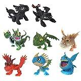 XLKJ 8 Pièces Mini Figurine Dragon dans Anime Caractère Modèle, Dragons Jouet...