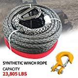 RUGCEL WINCH 3/8' x 85' Synthetic Winch Rope with Hook, Winch Cable with Protective Sleeve, Car Tow Recovery Cable for 4WD Off Road Vehicle Truck ATV UTV SUV 23,805 LBS Breaking Strength (Yellow Hook)