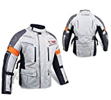 JET Motorcycle Motorbike Jacket Protective Textile Armoured Waterproof SILVER GREY (7XL (54' - 56'), Silver Grey)