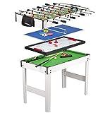 Leomark Table 4 Jeux en 1 - Billard, babyfoot, Hockey de Table et ping-Pong...