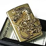 Zippo Rampage Gold Dragon 2-Sides Metal Onyx Japan 1000 Limited Oil Lighter