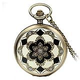 Avaner Reloj De Bolsillo Vintage Retro De Flores, Reloj Mosaico con Cadena Larga De 81cm, Cuarzo Reloj Bronce para Mujer, Regalo Dia de la Madre