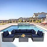 Outime Patio Sofa 6pcs Garden Furniture Outdoor/Indoor Couch Seating Rattan Sofa Set Grey Wicker Navy Blue Cushion