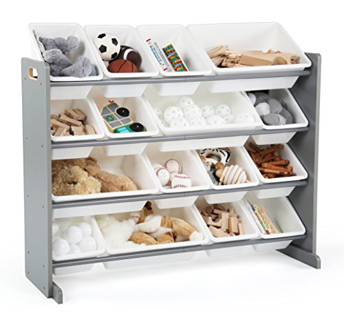 Tot Tutors Springfield Collection Supersized Wood Toy Storage Organizer, Extra Large, Grey/White