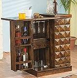 Santosha Decor Sheesham Wood Bar Cabinet Rack Hard and Soft Drinks Storage Cabinets Sheesham Wood Furniture Wine Wisky Scotch All Type Drinks Bar Cabinet for Living Room (Natural Brown Finish)