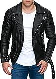 Reichstadt Veste de motard pour homme avec ceinture amovible en cuir véritable ou cuir synthétique - Noir - Medium