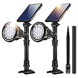 JSOT Outdoor Solar Lights, 18 LED Spotlight Waterproof Landscape Lights Solar Security Lamps for Garage Deck Garden Wall (White Light, Pack of 2)