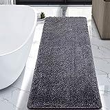 LOCHAS Luxury Bathroom Rug Grey Bath Mat 24 x 60 Inch, Shaggy Washable Non Slip Bath Rugs for Bathroom Shower, Soft Plush Chenille Absorbent Carpets Mats, Grey