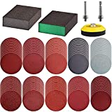 Tshya 100pcs 3inch Sanding Discs Pad with 2Pcs Sanding Sponge Buffing Blocks Variety Kit for Drill Grinder Rotary Tools Attachment with 1/4' Shanks, Sanding Pads Includes 80-3000 Grit
