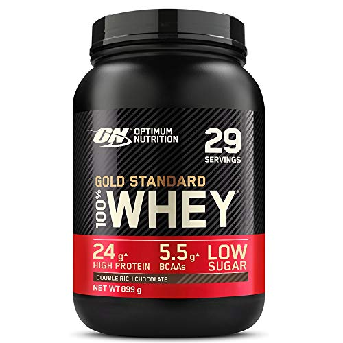 Optimum Nutrition ON Gold Standard Whey Protein, Muscle Building Powder With Naturally Occurring Glutamine and Amino Acids, Double Rich Chocolate, 29 Servings, 899 g, Packaging May Vary