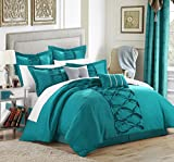 Chic Home Ruth 8-Piece Ruffled Comforter Set, King, Turquoise