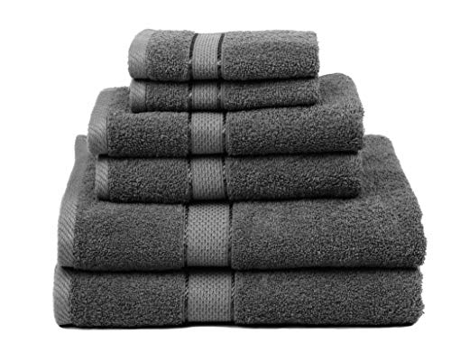 Ariv Collection Premium Bamboo Cotton 6 Piece Towel Set (2 Bath Towels, 2 Hand Towels and 2 Washcloths) - Natural, Ultra Absorbent and Eco-Friendly (Coal)