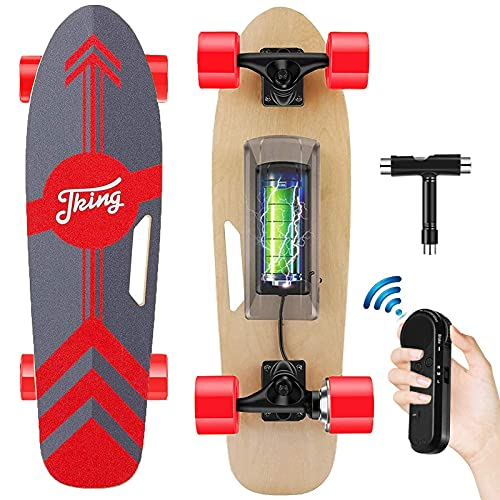 Tooluck-électrique Skateboard avec télécommande sans Fil, Skate Electrique Vitesse Maximal 20 KM/H, Moteur brushless 350W Longboard Électrique, Charge maximale de 100KG