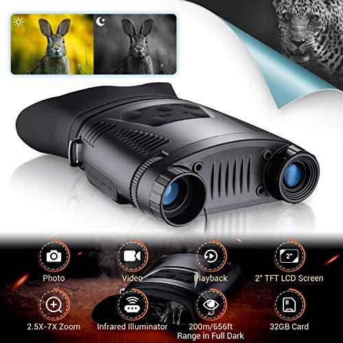 HUTACT Binocolo Infrarossi Visione Notturna HD Digitale, Scheda TF da 32 GB, Schermo LCD da 2'...