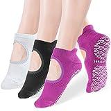 Sportneer Yoga Socks for Women 3 Pairs, Non Slip Socks with Grips, Anti-Skid for Pilates, Barre, Ballet, Dance, Trampoline, Barefoot Workout Fitness Hospital Socks, SIze M 6-9