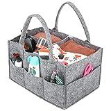 Umi. by Amazon - Baby Windel Caddy, tragbar Wickeltasche Organizer Multifunktionale Wickeltasche Aufbewahrungsbox Caddy mit Wechselbaren Fächer für Kinderzimmer, Auto und Reisen-Grau