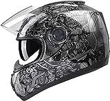 GLX Unisex-Adult GX15 Lightweight Full Face Motorcycle Street Bike Helmet with Internal Sun Visor DOT Approved (Skull, Medium)