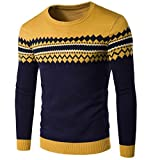 Overdose Color Block Pull, Hiver Homme Pull Noël Jacquard Slim Manches Longues Knitting Pullover (L, Jaune)