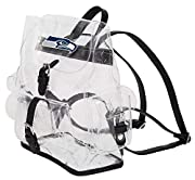 """Screen printed NFL team logo on flap closure Flap and drawcord main compartment closure; front magnetic-snap flap pocket; side magnetic-snap flap pockets; adjustable shoulder straps Measures 12""""H x 4. 5""""D x 9. 75""""W Spot clean only. Props not included..."""