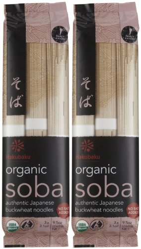 Hakubaku Organic Soba, Authentic Japanese Buckwheat Noodles (No Salt Added), 2 pk