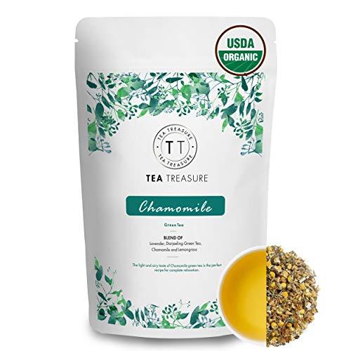 TeaTreasure USDA Certified Organic Chamomile Green Tea - 100 Gm - Calming & Soothing Sleep Tea for Stress and Anxiety