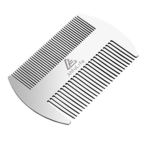 AhfuLife® Pettine per capelli e barba, in metallo, formato carta di credito, perfetto per portafoglio e tasca, pettine da barba antistatico a doppia azione (pettine in acciaio inossidabile)