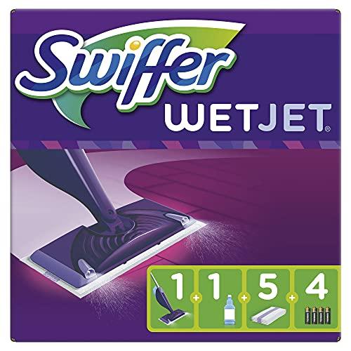 Swiffer WetJet Balai Lave Sol avec Spray, Kit de Démarrage avec 1 Balai Spray +5 Lingettes +1 Solution Nettoyante Liquide + 4 Piles