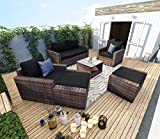 Mecor 7 Pieces Outdoor Patio Furniture Sets All-Weather Sectional Sofa Manual Weaving PE Wicker Rattan Conversation Sofa Sets with Cushions,Pillowsand Glass Table (Brown