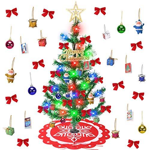 Minterest Arbol Navidad Pequeño, 60cm Mini Arbol de Navidad con Luces Incorporadas 33 Piezas Decoración Arbol de Navidad Artificial con Falda de Arbol de Navidad