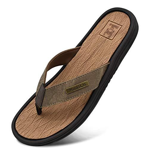 Chanclas Playa Hombre Deporte Cuero Comodo Soporte Plano Sandalias Verano Piscina Antideslizante Flip Flops Caqui Talla 43
