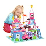 Lucky Doug Building Blocks Set for Kids, 174PCS Pink Princess Castle Blocks Toys and 4 Baseplate...