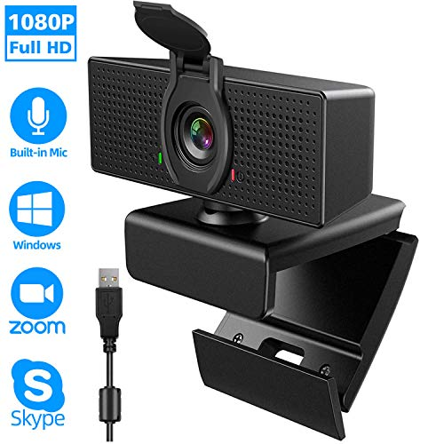 Webcam with Microphone, 1080P HD Webcam & Privacy Cover, USB Plug and Play Laptop PC Desktop Web Camera, 110-Degree View Angle Computer Camera for Video Calling Recording Conferencing