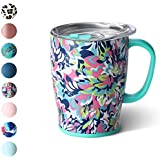 Swig Life 18oz Triple Insulated Travel Mug with Handle and Lid, Dishwasher Safe, Double Wall, and Vacuum Sealed Stainless Steel Coffee Mug in our Frilly Lilly Pattern (Multiple Patterns Available)