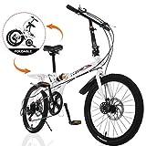 Folding Bike Commuter, Rear Rack, Folding 7 Speed City Bike Urban Commuters Aluminum, Disc Brake, 20-Inch Wheels (Ship from US)