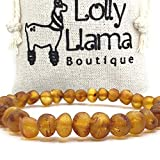 Raw Adult Baltic Amber Bracelet - All Natural Pain Relief for Adults to Help Migraines, Sinus, Arthritis and More! - Cognac (Large)