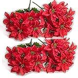 HLTER Juego de 4 pas de flores artificiales de Poinsettia, 7 cabezas de arbustos de Poinsettia artificiales de seda de Navidad, ramo de Poinsettia rojo para decoracin del hogar de vacaciones