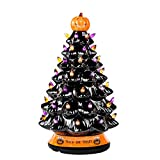 RJ Legend 15-Inch Halloween Decorations Ceramic Tree - 50+ Multicolor Bulbs Halloween Tree – Handcrafted and Hand Painted – Glossy Finish – Pumpkin Top and Trick or Treat Bottom