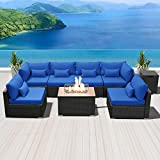 SUNPEAK Fire Table Set Sectional Outdoor Furniture Propane Firepit Dark Brown Rattan Multi Colors Outdoor Sofa Set (Royal Blue Rectangular Table)