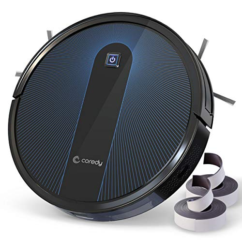 Coredy Robot Vacuum Cleaner, Boost Intellect, 1600Pa Super-Strong Suction, Boundary Strips Included, 360 Smart Sensor Protection, Ultra Slim, R650 Robotic Vacuum, Cleans Hard Floor to Carpets