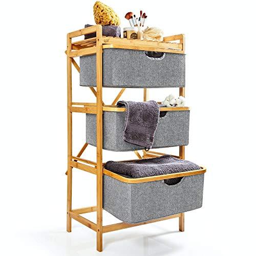 bambuswald© nachhaltiger Wäschekorb mit 3 ausziehbaren Fächern aus Bambus | Wäschesammler ca. 96x48,5x32,5cm - Wäschesortierer Wäschesack Wäschebehälter Wäschetonne Wäschetruhe
