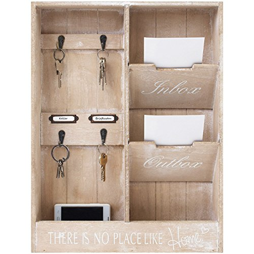 Wohaga - Organizer da parete In & Out, bacheca in legno con portachiavi e 2 caselle, 48 x 36 x 7 cm,...