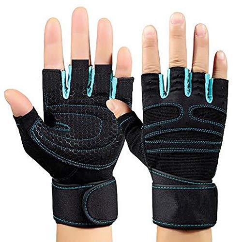 Outdoor Sports Gloves Half Finger Palm Exercise Dumbbell Fitness Gloves, Premium Quality Gym Workout Gloves with Wrist Wrap Support for Men & Women, for Weightlifting, Hanging, Pull ups (Blue, S)