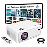 """Mini Projector, GROVIEW Outdoor Movie Projector with 100"""" Projector Screen, 1080P HD..."""