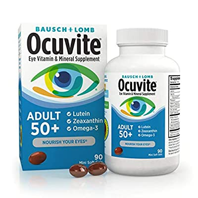 OCUVITE ADULT 50 PLUS EYE VITAMINS: Our most advanced formula to help support eye health & replenish vital eye nutrients that you can lose as you age, with Lutein, Zeaxanthin, omega-3, zinc, copper, vitamin C & vitamin E. Eye Nutrition for Today. OCU...