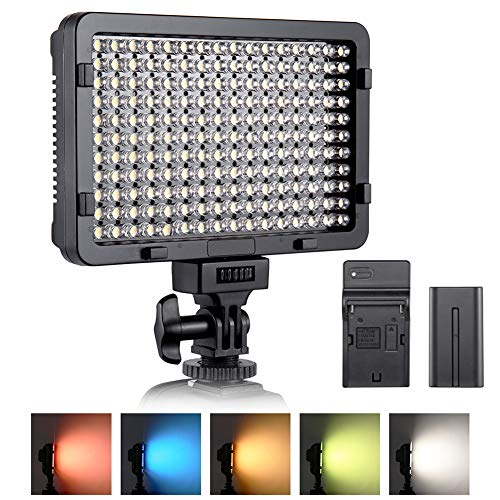 Luce Fotografica a LED ESDDI, Luce Video, 176 LED Dimmerabili Super Luminosi 3200-5600K, 5 Filtri Colorati, CRI 95+, Batteria con Caricabatterie Incluso, per Fotocamere DSLR